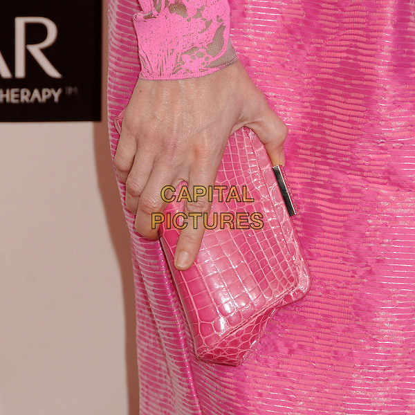 Leslie Mann's hand .18th Annual Critics' Choice Movie Awards - Arrivals held at Barker Hangar, Santa Monica, California, USA, .10th January 2013 .detail hand pink croc clutch bag purse  animal .CAP/ADM/BP.©Byron Purvis/AdMedia/Capital Pictures.