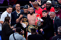 """Fairfax, VA - May 11, 2019: Julian Williams defeated Jarrett """"Swift"""" Hurd to take home the IBF, WBA and IBO Championship belts by unanimous decision at Eagle Bank Arena in Fairfax, VA.  (Photo by Phil Peters/Media Images International)"""