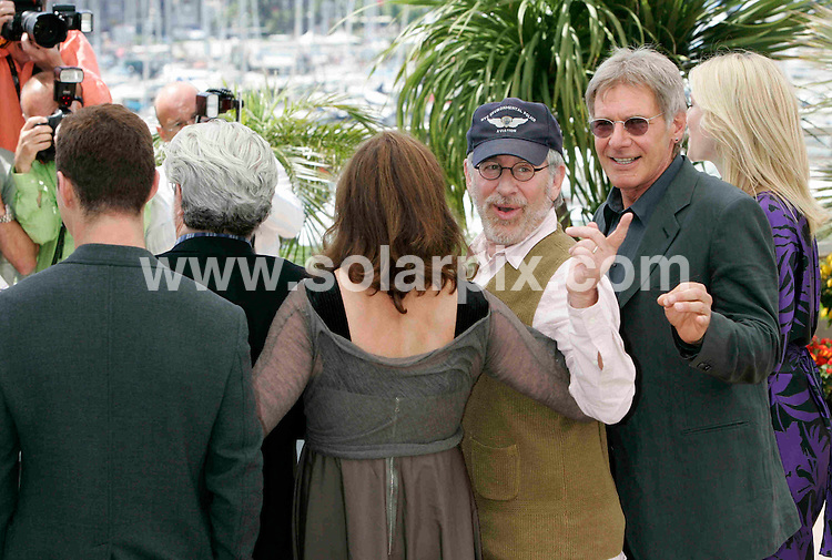 **ALL ROUND PICTURES FROM SOLARPIX.COM**.**SYNDICATION RIGHTS FOR UK, SPAIN, PORTUGAL, AUSTRALIA, S.AFRICA & DUBAI (U.A.E) ONLY**.Shia LaBeouf (L-R), George Lucas, Steven Spielberg, Harrison Ford and Cate Blanchett at the photocall of 'Indiana Jones and the Kingdom of the Crystal Skull' in Cannes.JOB REF: 6449    CPR    DATE: 18.05.08.**MUST CREDIT SOLARPIX.COM OR DOUBLE FEE WILL BE CHARGED* *UNDER NO CIRCUMSTANCES IS THIS IMAGE TO BE REPRODUCED FOR ANY ONLINE EDITION WITHOUT PRIOR PERMISSION*
