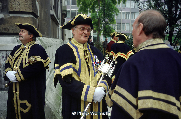 City Guild members in livery at the annual ceremony for the inauguration of the Lord Mayor of London