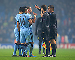Pablo Zabaleta of Manchester City protests to the referee at full time - Manchester City vs. CSKA Moscow - UEFA Champions League - Etihad Stadium - Manchester - 05/11/2014 Pic Philip Oldham/Sportimage