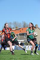 KORFBAL: REDUZUM: Sportpark Reduzum, 28-04-2013, Veld Hoofdklasse A, KV Mid Fryslân-LDODK AH Gorredijk, Eindstand 13-19, Nynke Sinnema (#5 | MF), Hilde de Boer (#10 | LDODK), ©foto Martin de Jong