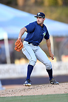 Columbia Fireflies starting pitcher Jake Simon (17) delivers a pitch during a game against the Asheville Tourists at McCormick Field on April 13, 2018 in Asheville, North Carolina. The Tourists defeated the Fireflies 5-1. (Tony Farlow/Four Seam Images)