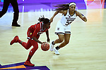 COLUMBUS, OH - MARCH 30: Jazmine Jones #23 of the Louisville Cardinals dribbles past Victoria Vivians #35 of the Mississippi State Bulldogs during a semifinal game of the 2018 NCAA Division I Women's Basketball Final Four at Nationwide Arena in Columbus, Ohio. (Photo by Tim Nwachukwu/NCAA Photos via Getty Images)