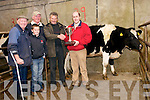 Dingle Mart manager Neilus MacAuliffe presenting the cup to Sean Daly, winner of the Friesian incalf dairy Heifer, here pictured with judge Jerry O'Riordan, Padraig Ferriter (Dingle Mart secretary) and Neil MacAuliffe on Saturday afternoon.