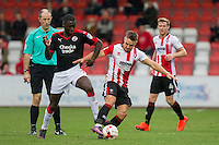Enzio Boldewijn of Crawley Town and Billy Waters of Cheltenham during the Sky Bet League 2 match between Cheltenham Town and Crawley Town at the LCI Rail Stadium, Cheltenham, England on 15 October 2016. Photo by Mark  Hawkins.