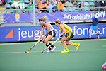 The Hague, Netherlands, June 01: Delfina Merino #12 of Argentina protects the ball against Celia Evans #3 of South Africa during the field hockey group match (Women - Group B) between Argentina and South Africa on June 1, 2014 during the World Cup 2014 at Kyocera Stadium in The Hague, Netherlands. Final score 4:1 (2:0) (Photo by Dirk Markgraf / www.265-images.com) *** Local caption ***