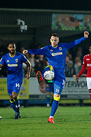 Joe Piggott of AFC Wimbledon during the Sky Bet League 1 match between AFC Wimbledon and Charlton Athletic at the Cherry Red Records Stadium, Kingston, England on 10 April 2018. Photo by Carlton Myrie / PRiME Media Images.