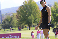 Lexi Thompson (USA) misses her putt on the 6th green during Thursday's Round 1 of The Evian Championship 2018, held at the Evian Resort Golf Club, Evian-les-Bains, France. 13th September 2018.<br /> Picture: Eoin Clarke | Golffile<br /> <br /> <br /> All photos usage must carry mandatory copyright credit (© Golffile | Eoin Clarke)