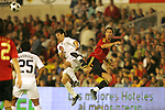 04 June 2008: Fernando Torres (ESP) (right) and Heath Pearce (USA) (left) make contact after playing a header. The Spain Men's National Team defeated the United States Men's National Team 1-0 at Estadio Municipal El Sardinero in Santander, Spain in an international friendly soccer match.