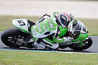 PHILLIP ISLAND, 22 FEBRUARY - Bryan Staring (AUS) riding the Kawasaki ZX-10R (67) of the Team Pedercini at day two of the testing session prior to round one of the 2011 FIM Superbike World Championship at Phillip Island, Australia. (Photo Sydney Low / syd-low.com)