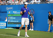 June 19th 2017, Queens Club, West Kensington, London; Aegon Tennis Championships, Day 1; Kyle Edmund of Great Britain gestures after winning a point versus Denis Shapovalov of Canada