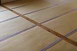 Closeup of Tatami mats in a traditional Japanese room interior in Kyoto, Japan, abstract background texture