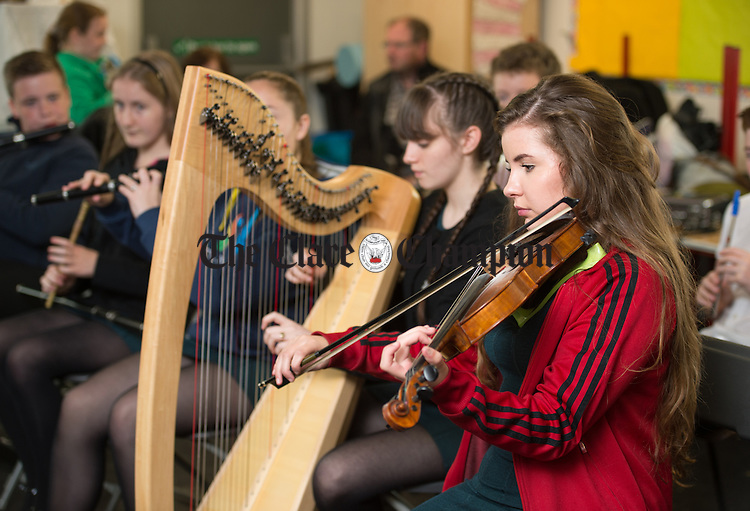 Niamh Deeveney and Eilidh Patterson  of St James The Great CCE, Glasgow getting in some last minute practice  before competition during Fleadh Cheoil na hEireann in Ennis. Photograph by John Kelly.