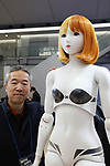"January 16, 2019, Tokyo, Japan - Japanese robot venture Speecys president Tomoaki Kasuga displays a life-sized mannequin robot ""Kosoka Cocona"" which has 37 actuators and make various posing and dancing at an robot exhibition Robodex in Tokyo on Wednesday, January 16, 2019. Some 220 robot companies display their recent products and technlogies at a three-day exhibition.   (Photo by Yoshio Tsunoda/AFLO) LWX -ytd"