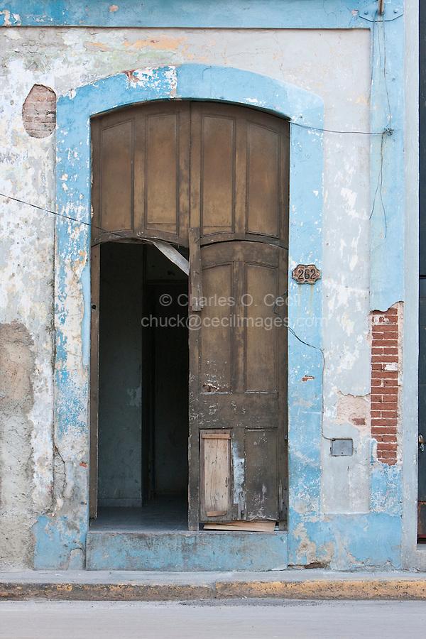 Cuba, Havana.  Door to Private Residence, Old Havana.