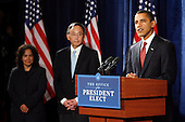 Chicago, IL - December 15, 2008 -- United States President-elect Barack Obama (R) introduces Nobel physics laureate Steven Chu (C) as his nominee for energy secretary and Nancy Sutley (L), current Deputy Mayor for Energy and Environment for the City of Los Angeles, as Chair of the White House Council on Environmental Quality during a news conference in Chicago,Illinois on Monday, December 15, 2008.  .Credit: Jeff Haynes / CNP