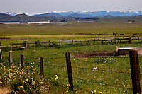 The great Central Valley of California is framed by snowcapped Sierra peaks in late spring.