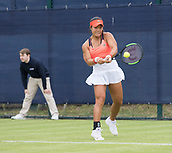 June 10th 2017,  Nottingham, England; WTA Aegon Nottingham Open Tennis Tournament day 1; Backhand from Kristie Ahn of USA who defeats Gabriela Dabrowski of Canada in two sets