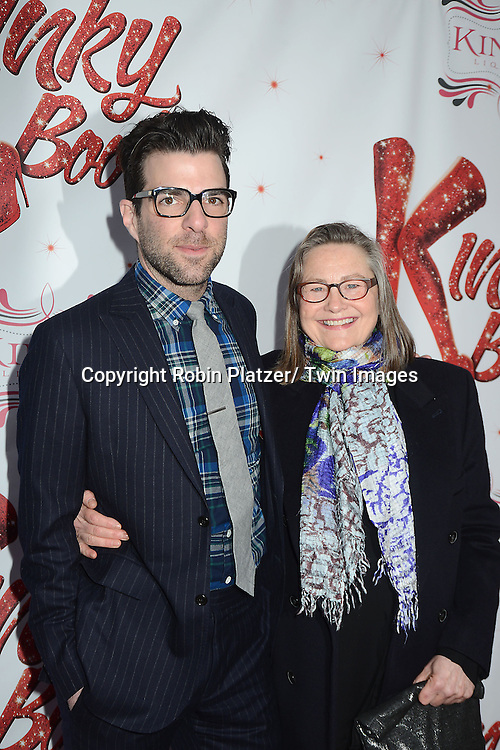 "Zachary Quinto and Cherry Jones arrive at the ""Kinky Boots"" Broadway Opening on April 4, 2013 at The Al Hirschfeld Theatre in New York City. Harvey Fierstein wrote is the Book Writer and Cnydi Lauper is the Composer."