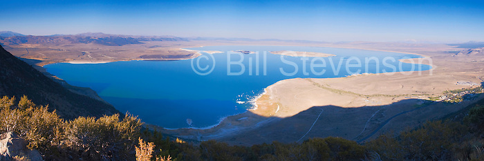 A panorama photo of Mono Lake from high in the Sierra mountains.