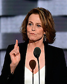 Actress Sigourney Weaver makes remarks during the third session of the 2016 Democratic National Convention at the Wells Fargo Center in Philadelphia, Pennsylvania on Wednesday, July 27, 2016.<br /> Credit: Ron Sachs / CNP<br /> (RESTRICTION: NO New York or New Jersey Newspapers or newspapers within a 75 mile radius of New York City)