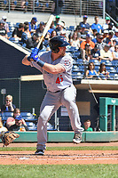 Matt Oberste (45) of the Binghamton Rumble Ponies bats during a game against the Hartford Yard Goats at Dunkin Donuts Park on May 9, 2018 in Hartford, Connecticut.<br /> (Gregory Vasil/Four Seam Images)