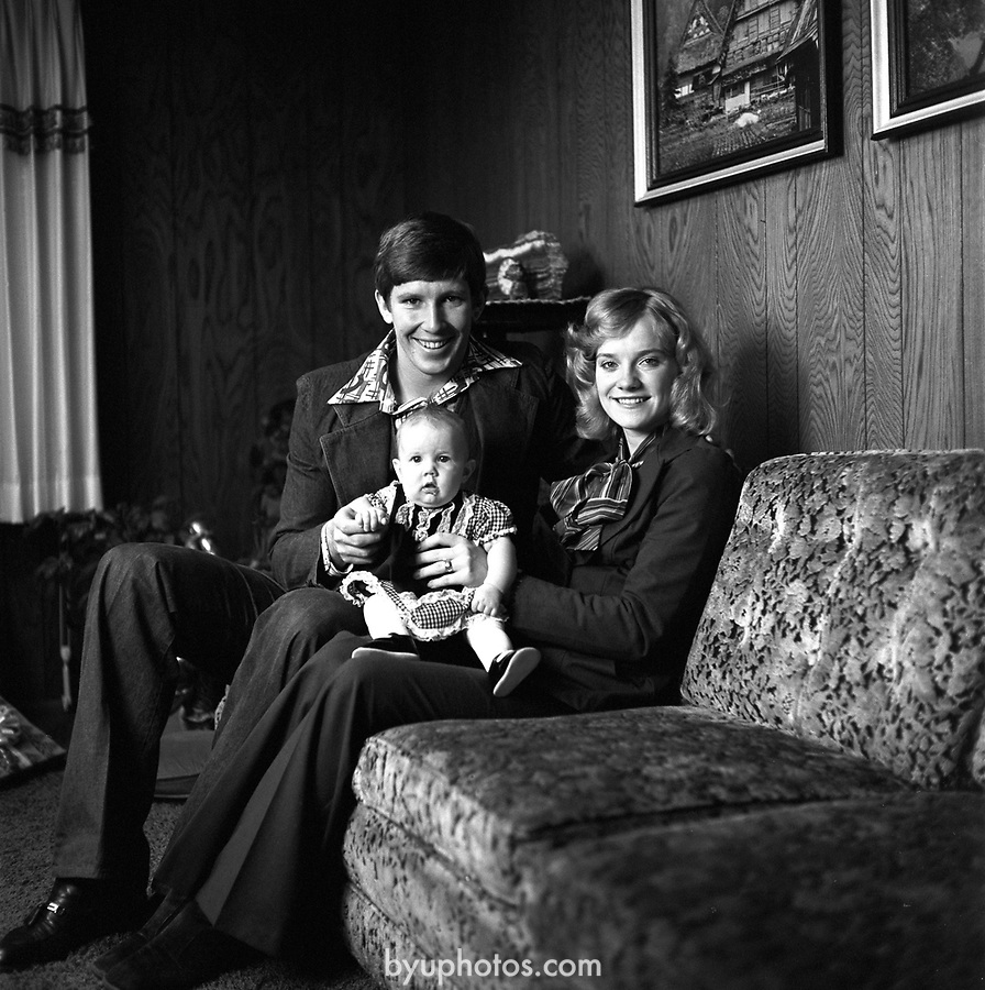 Gifford Nelson with his wife and baby<br /> <br /> December 8, 1976<br /> <br /> Photos-Mark Philbrick