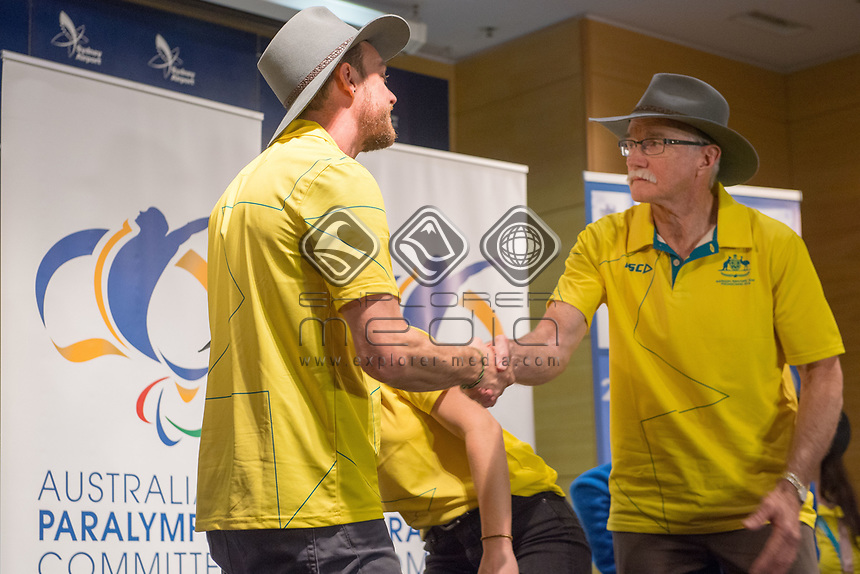Welcome home / Press Conference / Simon Patmore and Nick Dean<br /> PyeongChang 2018 Paralympic Games<br /> Australian Paralympic Committee<br /> Sydney International Airport<br /> PyeongChang South Korea<br /> Tuesday March 20th 2018<br /> &copy; Sport the library / Jeff Crow