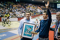 local hero Tiesj Benoot (BEL/Lotto-Soudal) is greated by the velodrome crowd as he gets a 'goodbye' gift from his current team (Lotto-Soudal) as he is moving on next (road) season to Team Sunweb<br /> <br /> zesdaagse Gent 2019 - 2019 Ghent 6 (BEL)<br /> day 2<br /> <br /> ©kramon