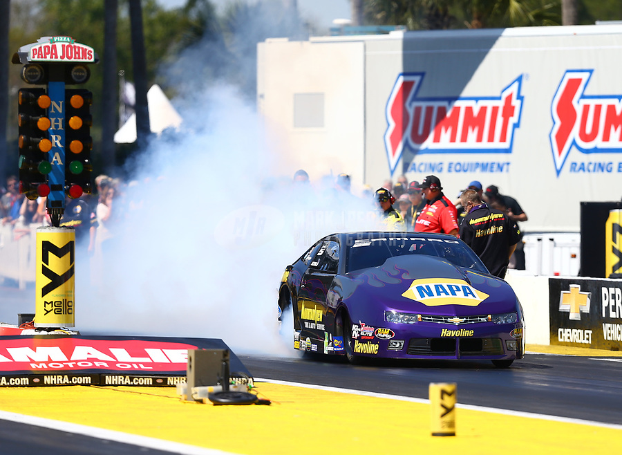 Mar 18, 2017; Gainesville , FL, USA; NHRA pro stock driver Vincent Nobile during qualifying for the Gatornationals at Gainesville Raceway. Mandatory Credit: Mark J. Rebilas-USA TODAY Sports