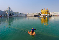 Amritasr, Punjab, India, 2010. A Sikh father dips his newborn baby in the Holy Pool of Nectar at the Golden Temple   <br />