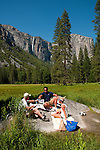 Picnic in meadow near El Capitan, Yosemite Valley, Yosemite National Park, California, USA.  Photo copyright Lee Foster.  Photo # california120741