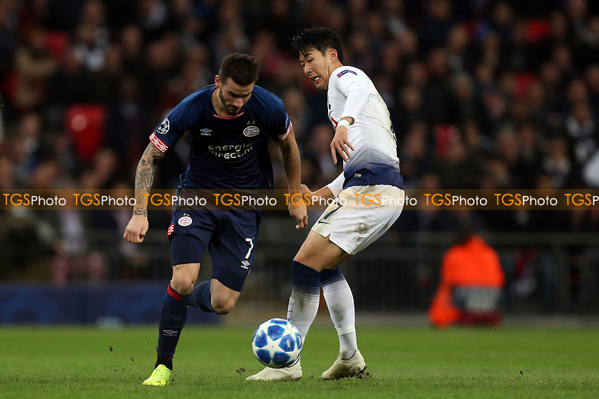 Gaston Pereiro of PSV Eindhoven and Son Heung-Min of Tottenham Hotspur during Tottenham Hotspur vs PSV Eindhoven, UEFA Champions League Football at Wembley Stadium on 6th November 2018