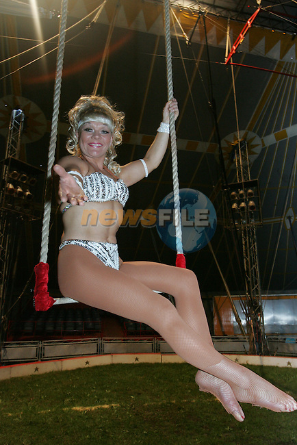 Amanda from Circus Hoffmann whoes titis popped out during her performance in the circus in Ardee on Thursday evening..Photo: Fran Caffrey/ Newsfile.