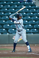 Seuly Matias (25) of the Wilmington Blue Rocks at bat against the Winston-Salem Dash at BB&T Ballpark on April 16, 2019 in Winston-Salem, North Carolina. The Blue Rocks defeated the Dash 4-3. (Brian Westerholt/Four Seam Images)