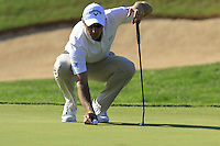 Nicolas Colsaerts (BEL) on the 13th green during Thursday's Round 1 of the 2016 Portugal Masters held at the Oceanico Victoria Golf Course, Vilamoura, Algarve, Portugal. 19th October 2016.<br /> Picture: Eoin Clarke   Golffile<br /> <br /> <br /> All photos usage must carry mandatory copyright credit (© Golffile   Eoin Clarke)