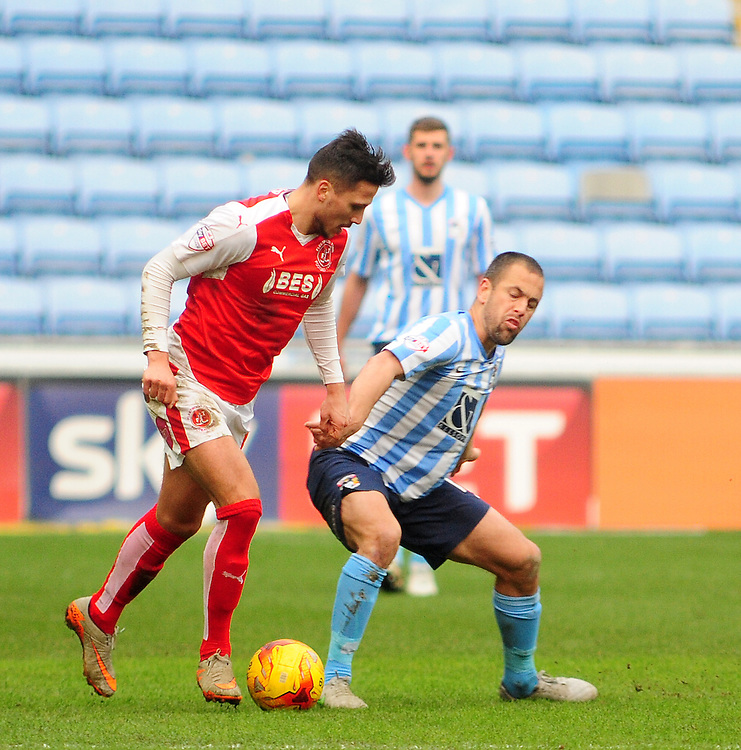 Coventry City's Joe Cole  vies for possession with Fleetwood Town's Antoni Sarcevic<br /> <br /> Photographer Andrew Vaughan/CameraSport<br /> <br /> Football - The Football League Sky Bet League One - Coventry City v Fleetwood Town - Saturday 27th February 2016 - Ricoh Stadium - Coventry   <br /> <br /> &copy; CameraSport - 43 Linden Ave. Countesthorpe. Leicester. England. LE8 5PG - Tel: +44 (0) 116 277 4147 - admin@camerasport.com - www.camerasport.com