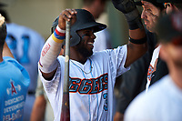 Inland Empire 66ers shortstop Luis Rengifo (3) is congratulated by teammates after scoring a run during a California League game against the Lancaster JetHawks at San Manuel Stadium on May 20, 2018 in San Bernardino, California. Inland Empire defeated Lancaster 12-2. (Zachary Lucy/Four Seam Images)