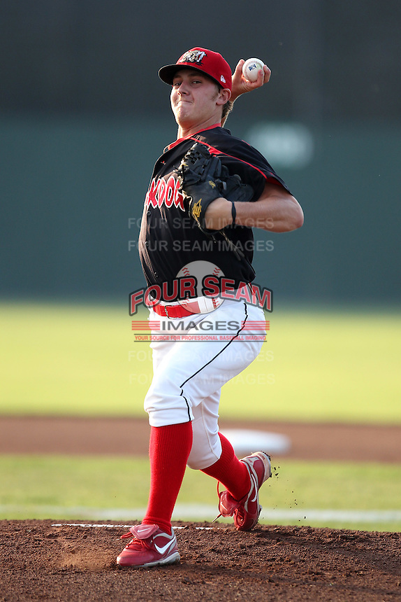 Batavia Muckdogs starting pitcher Seth Maness #6 during a game against the State College Spikes at Dwyer Stadium on July 6, 2011 in Batavia, New York.  Batavia defeated State College 2-1.  (Mike Janes/Four Seam Images)