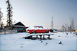 Photo by Heathcliff Omalley..Yakutsk 22 November 2007.A snowbound Lada car in the village of Khomustakh outside of Yakutsk, in the Outer Far East of Russia .
