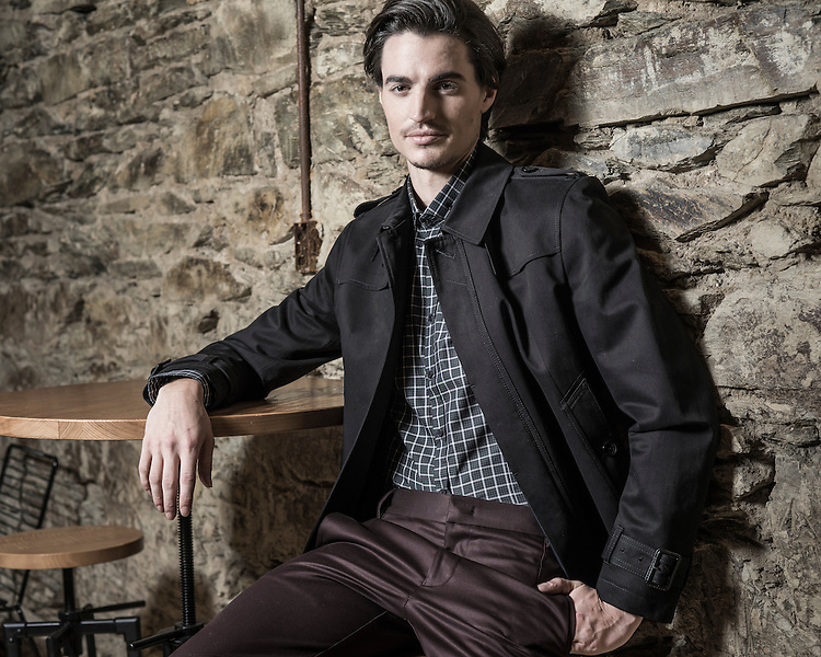 Fashion with Mirella, Mens Jackets, Model Alex. At the Gallery bar.  Photo: Nick Clayton