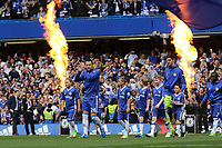 John Terry leads out the Chelsea team with his two children during Chelsea vs Sunderland AFC, Premier League Football at Stamford Bridge on 21st May 2017