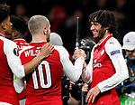 Arsenal's Mohamed Elneny celebrates scoring his sides sixth goal during the Europa League Group H match at The Emirates Stadium, London. Picture date: December 7th 2017. Picture credit should read: David Klein/Sportimage