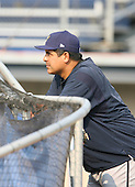 2007:  Wilson Alvarez of the State College Spikes leans on the batting cage prior to a game vs. the Batavia Muckdogs in New York-Penn League baseball action.  Photo copyright Mike Janes Photography 2007.
