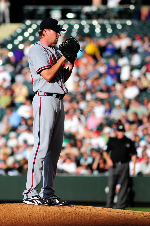 July 9, 2009: Braves starting pitcher and 2009 Rookie of the Year candidate Tommy Hanson during a regular season game between the Atlanta Braves and the Colorado Rockies at Coors Field in Denver, Colorado.