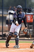GCL Yankees 1 catcher Brian Reyes (89) during the second game of a doubleheader against the GCL Braves on July 1, 2014 at the Yankees Minor League Complex in Tampa, Florida.  GCL Braves defeated the GCL Yankees 1 by a score of 3-1.  (Mike Janes/Four Seam Images)