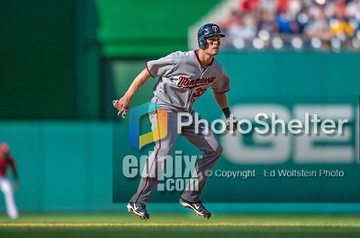 8 June 2013: Minnesota Twins first baseman Justin Morneau in action against the Washington Nationals at Nationals Park in Washington, DC. The Twins edged out the Nationals 4-3 in 11 innings. Mandatory Credit: Ed Wolfstein Photo *** RAW (NEF) Image File Available ***