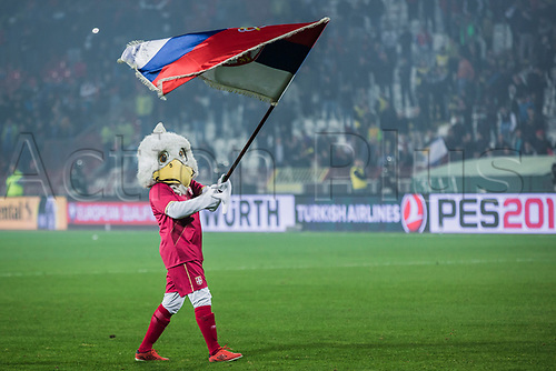 9th October 2017, Red Star Stadium, Belgrade, Serbia; FIFA World Cup Qualification, Serbia versus Georgia; Official mascot of Serbian National team celebrates the qulafication to Fifa World Cup 2018