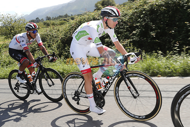 Tadej Pogacar (SLO) UAE Team Emirates wearing the White Jersey during Stage 14 of La Vuelta 2019  running 188km from San Vicente de la Barquera to Oviedo, Spain. 7th September 2019.<br /> Picture: Luis Angel Gomez/Photogomezsport | Cyclefile<br /> <br /> All photos usage must carry mandatory copyright credit (© Cyclefile | Luis Angel Gomez/Photogomezsport)